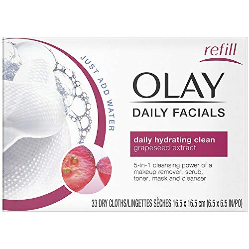 OLAY Daily Facial Hydrating Cleansing Cloths with Grapeseed Extract, Makeup Remover 33 ea (Pack of 2)