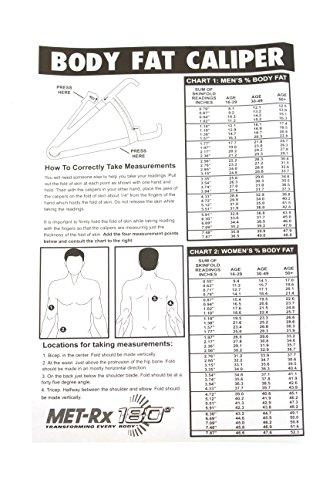 Amazon com met rx 180 bundle body fat caliper tape measure