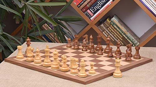 Combo of Reproduced French Lardy Chess Pieces in Sheesham / Box Wood & Walnut Maple Wooden Chess Board - 3.75