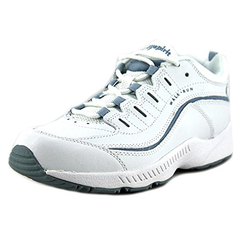 Action Leather Footwear (Easy Spirit Women's Romy White/Medium Blue Leather Sneaker 9.5 M (B))