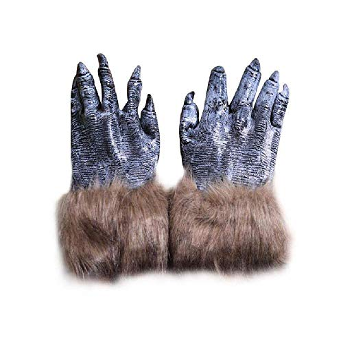 Halloween Monster Mask Head Cover Claws Gloves Werewolves Cosplay Props Party as pic OneSize -
