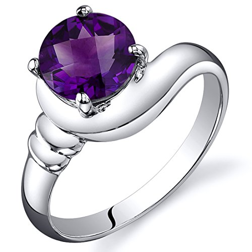 Amethyst Solitaire Ring Sterling Silver Rhodium Nickel Finish Round Shape 1.25 Carats Size 9