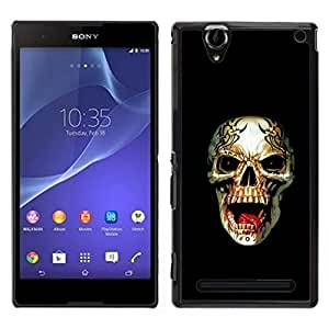 // PHONE CASE GIFT // Duro Estuche protector PC Cáscara Plástico Carcasa Funda Hard Protective Case for Sony Xperia T2 Ultra / Rogue Metal Heavy Rock Black Skull /