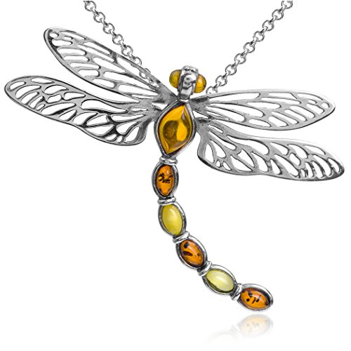 Ian and Valeri Co. Multicolor Amber Sterling Silver Dragonfly Pendant Necklace Chain 18