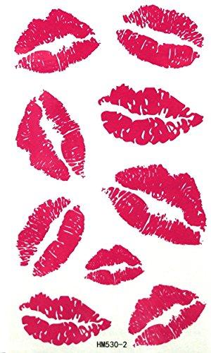 """HM530-2 - couleur rose - Lips tatouage temporaire - Baiser Tatouages - Tatouages Body Photos - tatouages temporaires de bricolage pour les adultes - Taille: Apox. 6,25 """"x3.5"""""""