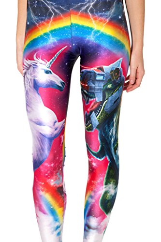 Roseate Women's 3D Digital Print Leggings Workout Running Tights UNICORN VS ROBOT