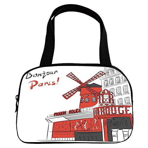 Personalized Customization Small Handbag Pink,Paris,Sketch Art of Urban Landscape with Cabaret Moulin Rouge in Paris Modern City Decorative,Orange Grey White,for Girls,Personalized Design.6.3