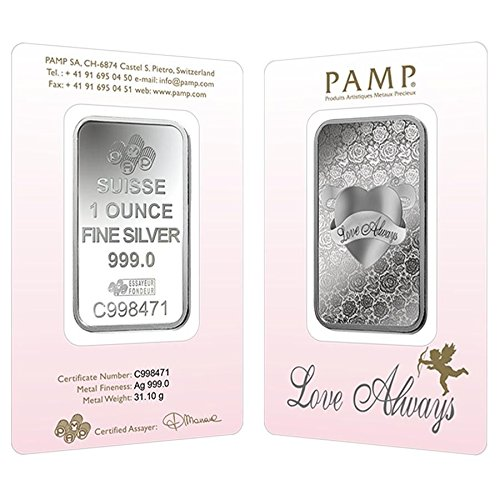 Love Always 1 OZ SILVER Bar - PAMP Suisse - 999.9 Fine in Assay Card by Pamp