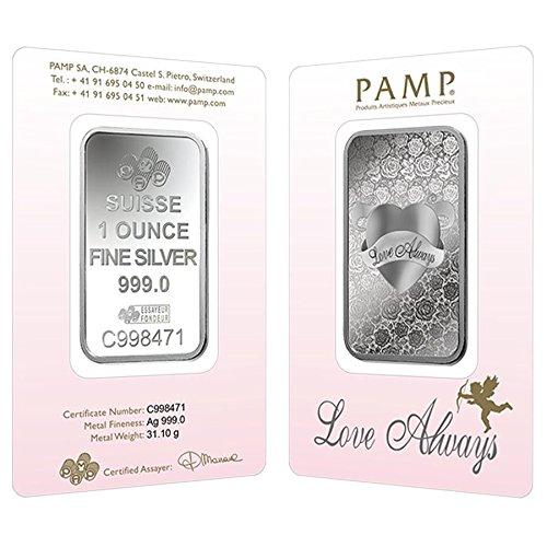 Love Always 1 OZ SILVER Bar - PAMP Suisse - 999.9