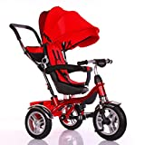 Little Bambino 4 IN 1 Kids Children Child Baby Toddlers Trike Tricycle Stroller (Red)