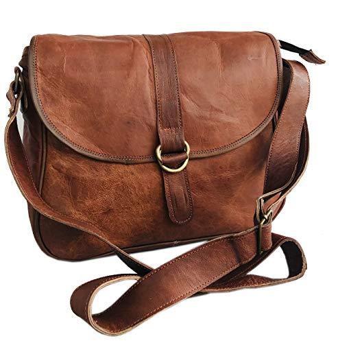 (Handmade Women Shoulder Bag Vintage Rustic Retro Style Genuine Brown Leather Tote Cross Body Travel Purse Bag)