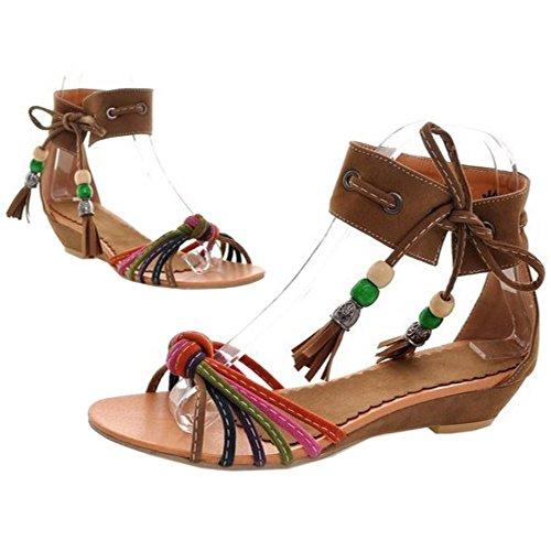 Multicolor Longfengma Lace Up Giallo Sandali Flats Women Scarpe Beads q55SxaTwP