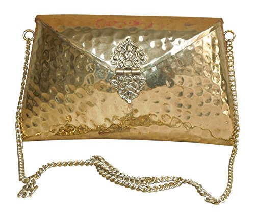 Spice Art Embossed Handmade Metallic Brass Clutch in Golden