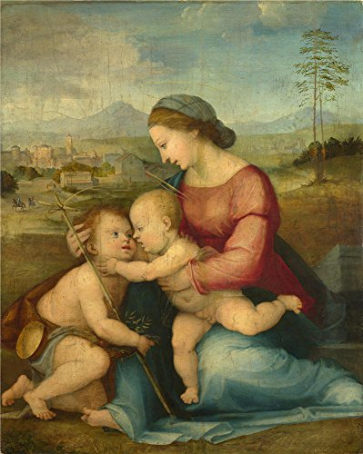 High Quality Polyster Canvas ,the Reproductions Art Decorative Prints On Canvas Of Oil Painting 'Fra Bartolommeo The Madonna And Child With Saint John ', 10 X 13 Inch / 25 X 32 Cm Is Best For Bathroom Decoration And Home Artwork And ()