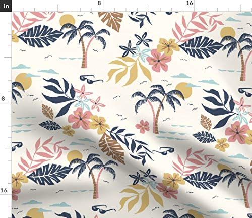 Spoonflower Hawaiian Fabric - Shirt 2 Palm Tree Leaves Retro Vintage Summer Mid Century Modern Print on Fabric by The Yard - Basketweave Cotton Canvas for Upholstery Home Decor Bottomweight - Shirt Hawaiian Fabric