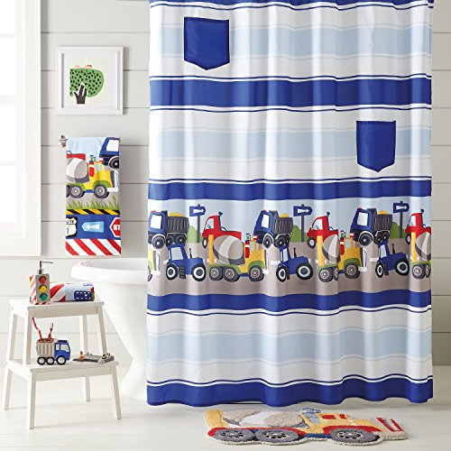 Dream Factory Trains and Trucks 4-Piece Shower Curtain, Towels, Bath Rug Accessories Set, Grey ()
