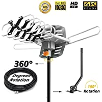 Sobetter Outdoor TV Antenna 150 miles Amplified Digital HDTV Antenna with 360°Rotation ,Wireless Remote Control, 33 Feet Coax Cable,Mounting pole 2018 Newest Version with 4K
