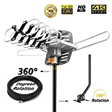 Sobetter Outdoor TV Antenna 150 Miles Amplified Digital HDTV Antenna with 360°Rotation,Wireless Remote Control, 33 Feet Coax Cable,Mounting Pole 2018 Newest Version with 4K