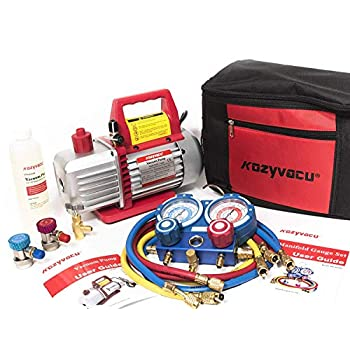 Image of Air Conditioning Line Repair Tools Kozyvacu AUTO AC Repair Complete Tool Kit with 1-Stage 3.5 CFM Vacuum Pump, Manifold Gauge Set, Hoses and its Acccessories