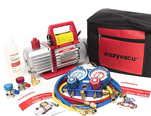 Kozyvacu AUTO AC Repair Complete Tool Kit with 1-Stage 3 5 CFM Vacuum Pump,  Manifold Gauge Set, Hoses and its Acccessories