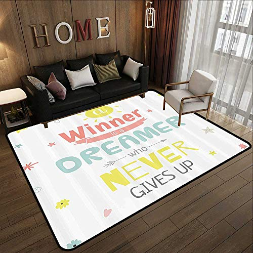 Living Room Rugs,Quote Decor,Positive Inspiring Motivational Quote on a Poster with Colorful Letters and Stars,Multi 47