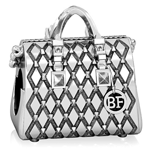 (Authentic BELLA FASCINI Designer Purse Studded Tote Handbag Bead Charm- 925 Silver - Fits Bracelets)