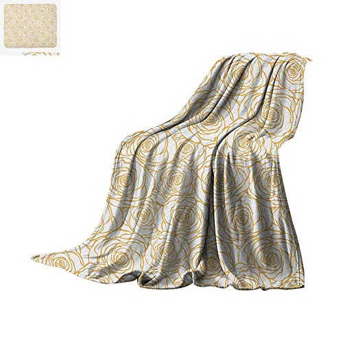 Contemporary Warm Microfiber All Season Blanket Art Deco Style Floral Pattern with Roses Romantic Abstract Bouquet Garden Summer Quilt Comforter 90