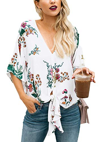 Chemise 3 Manches Cou Bouffant Et Printemps Tops Vintage Loisir V 4 Fille Classique Motif Femme 1 Haut Chemisiers Fleur Elgante Nou Shirts Mode Hq880w