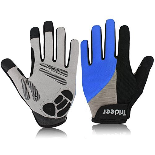 Trideer Padded Full Finger Cycling Gloves, Touch-Screen Mountain Road Gloves Anti-Slip, Bicycle Racing Gloves Biking Gloves (Full Finger Blue, M (Fits 7.0-7.6 inches))