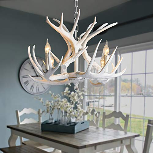 NIUYAO Retro Farmhouse Candle Style Resin Deer Antler White Chandeliers Faux Antler Fixture 4 Light Matching Chain Creative Pendant Light for Living Room Restaurant Bar Cafe Dining Rooms