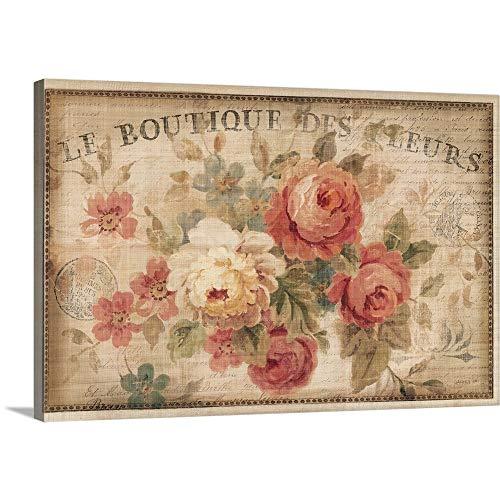 "Parisian Flowers III Canvas Wall Art Print, 24""x16""x1.25"""