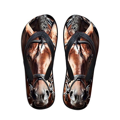 Non Animal Flats Flops Women Rubber 3D Flip Slipper Slip Printed Coloranimal Horse for Crazy Home w0gBqRnfx1