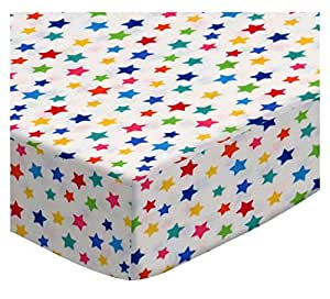 SheetWorld Fitted Oval Crib Sheet (Stokke Sleepi) - Primary Colorful Stars On White Woven - Made In USA