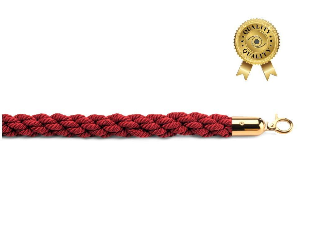 Kerafactum® - Verbindungskordel Kordel gedreht Absperrband Absperrungsseil Personenleitsystem Seil 1, 5 Meter (goldfarben - rot) Faimex
