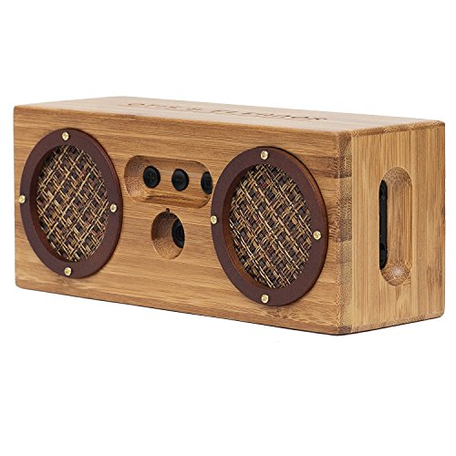 BONGO Wood Bluetooth Speakers | Retro Handcrafted Bamboo | Portable Wireless Speaker for Travel, Home, Shower, Beach, Kitchen, Outdoors | Loud Bass with Dual Passive Woofers | Vintage Brown Bamboo by Otis & Eleanor