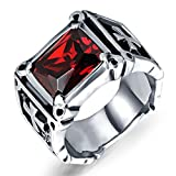 Men Women Stainless Steel Cushion Cut Red Cubic Zirconia CZ Ruby Silver Cross Ring Punk Black Biker Band Size 10