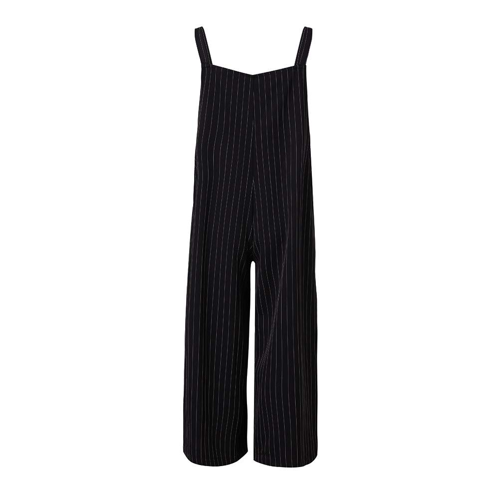 Amazon.com: NewKelly Women Strap Side Pockets Wide Legs Pants Striped Baggy Autumn Jumpsuits: Clothing