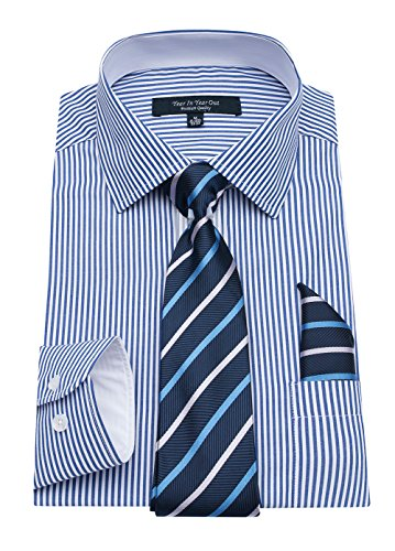 YEAR IN YEAR OUT Mens Long Sleeve Dress Shirts Slim Fit Shirts For Men With Mathing Tie and Handkerchief,Blue Stripe,16''-16.5''Neck 34''-35'' Sleeve by YEAR IN YEAR OUT