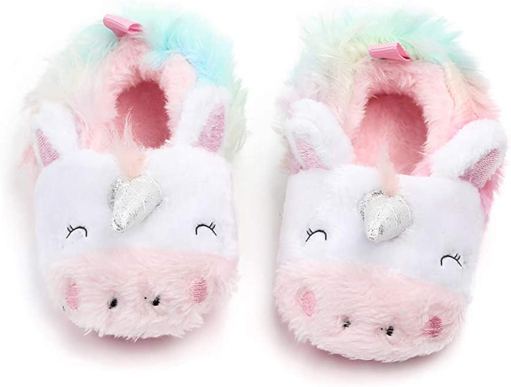 MK MATT KEELY Baby Boys Girls Cute Animal Slippers Plush Anti Slip Indoor Home Slippers Soft Sole Toddler Shoes for Baby