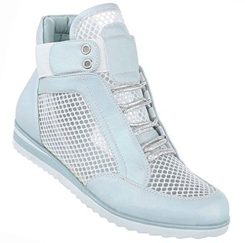 Damen Schuhe Freizeitschuhe Perforierte High Top Sneakers Turnschuhe Schwarz Hellblau