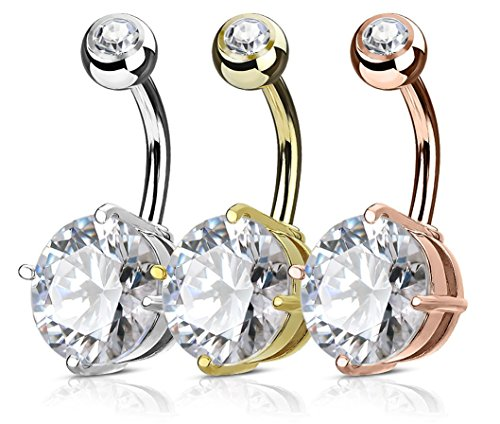 Value Pack 3-Pcs 10mm CZ Solitaire Round Crystal Belly Button Rings (Steel/Gold Tone/Rose Gold ()