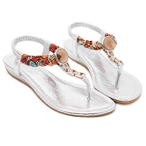 COOLCEPT Mujer Moda Ankle Strap Thongs Tacon de cuna bajo Slingback Flip Flop Zapatos Plata