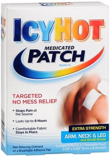 ICY HOT Medicated Patches Extra Strength Small (Arm, Neck, Leg) 5 Each (Pack of 6)