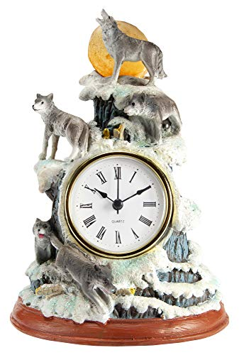 Moon Desk Clock - The Paragon Glowing Wolf Desk Clock - Hand Painted 3D Tabletop Clock for Wolf Lovers, Great Home and Office Decor, Battery Operated Clock with LED Moon