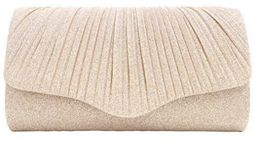 Pulama Glitter Clutch Pleated Purse for Wedding (Charming Champagne) by Pulama