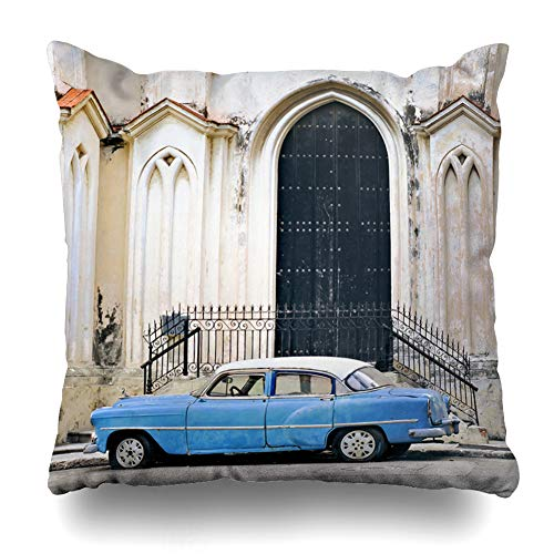 Ahawoso Throw Pillow Cover Square 16x16 Scene Blue Cuba View Classic American Old Car Fashioned Parked Havana Cuban Aged Oldtimer Torn Design Zippered Cushion Case Home Decor Pillowcase