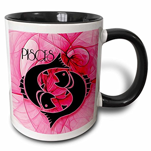 (3dRose Doreen Erhardt Stars of Zodiac Collection - Lady Pisces in Pink and Black Swirls Zodiac Collection - 11oz Two-Tone Black Mug (mug_204557_4))