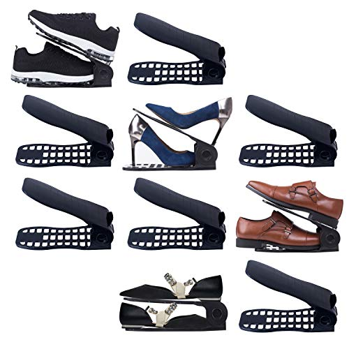 Shoe Slots Organizer 10 Piece Set (Black) - 2018 Premium Closet Space Saver for High Low Heels, Sneakers, Boots and Sandals - 3-step Adjustable Plastic Stacker Slotz - Gift for Men, Women, and kids