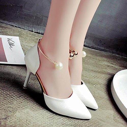 RUGAI-UE Sandalias de verano fresca pequeña tacones altos zapatos de punta fina White