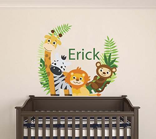 Custom Name Animals Branch - Boy Girl Mural - Baby's Mural Room Vinyl Sticker Wall Decal (Wide 22